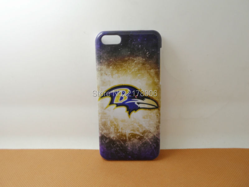Free Shipping Painting Printed NFL Baltimore Ravens White Plastic Hard Skin Cover For Apple iphone 5C Mobile Cell Phone Case(China (Mainland))