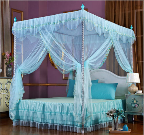 Light Green Flower Four Corner Post Bed Canopy Mosquito Netting Whit Frame Post(China (Mainland))