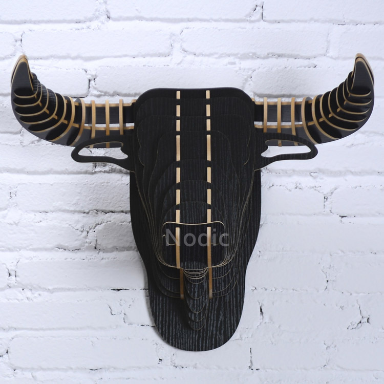 Black Bull Head Wood Crafts Wall Hanging Decoration,DIY Puzzle Assembled MDF Animal Head Ornament Home Decoration,Fast shipping(China (Mainland))