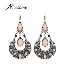 Indian Jewelry Wholesale Brincos Vintage style Hollow out Colorful Rhinestone Dangle Earrings Brincos Grandes(China (Mainland))