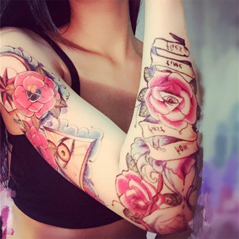 Fake Temporary Tattoo 2PC Sleeve tatoo Carp Designs Best Promotion Body Arm Stockings Fashion for Cool Men Women Watch Tattoo