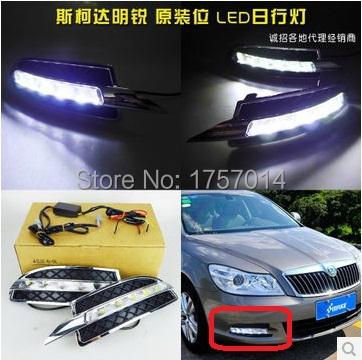 Здесь можно купить  2010~2013 SKODA Octavia ABS LED daytime running light  2pcs/set+wire of harness10W 12V,6500K;Free ship,  Автомобили и Мотоциклы