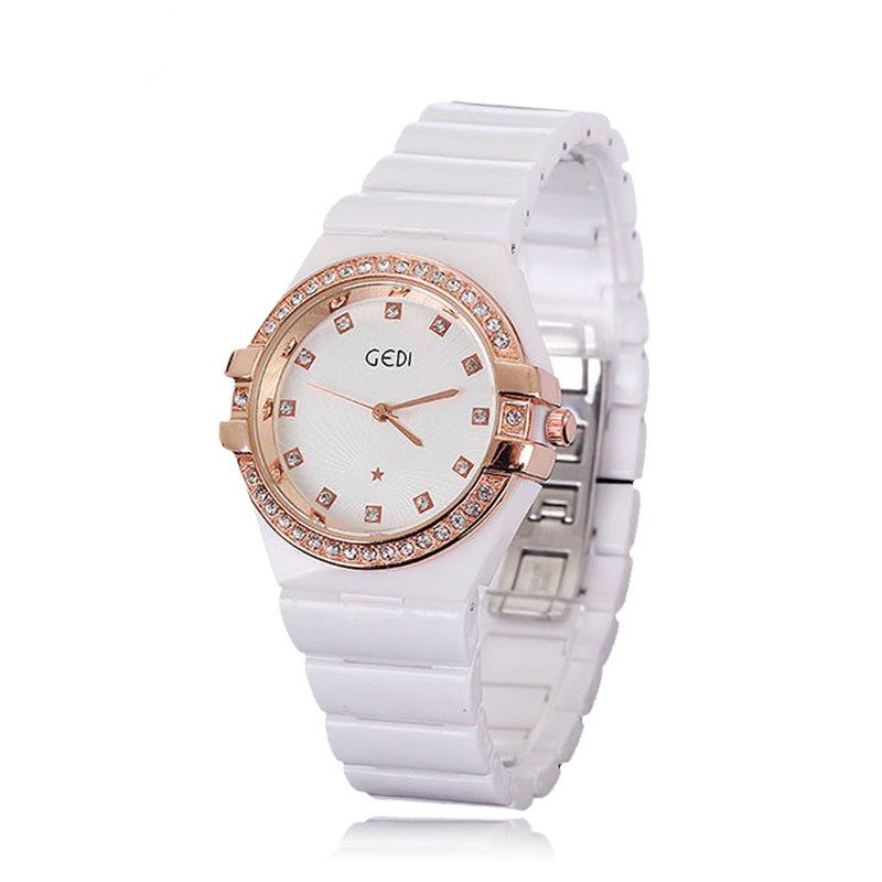 GEDI White Ceramic Diamond Fashion Bracelet Woman Watch Reloj De Acero Inoxidable Para Mujer Womens Wristwatch<br><br>Aliexpress