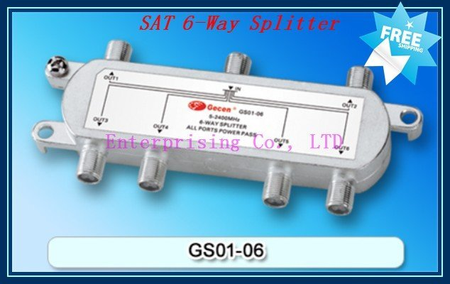 Satellite Accessories SAT 6-Way Splitter, Easy installation with two edge hole sites, Free Shipping