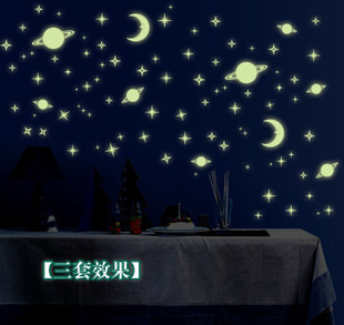 2015 Home Decoration Stickers Planet Moon Star Wall Sticker Children's room wall stickers Luminous fluorescent stickers(China (Mainland))