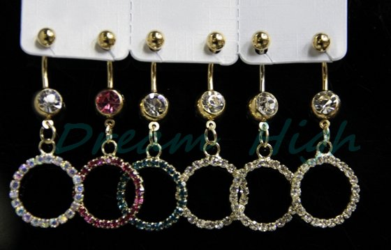 Free Shipping Dangle Round Navel Piercing belly button ring Fancy Body piercing 5-7days delivery 240pcs/lot Hot Sale(China (Mainland))