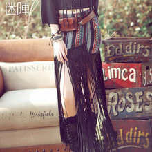 Aporia.AS Brand High Quality Novelty Vintage National Trend Personality Tassel Bust Skirt Gypsy Style All-Match Long Skirts