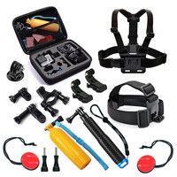Gopro Accessories Set Storage Bag Chest strap Bicycle Bracket kit headband and Self stick for  Xiaomi Yi Gopro 4 3+SJ4000 Camera