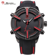 Dogfish Shark Sport Watch Auto Date LED Display Black Red Silicone Strap Band Digital Military Men's Quartz Wristwatch / SH384(China (Mainland))
