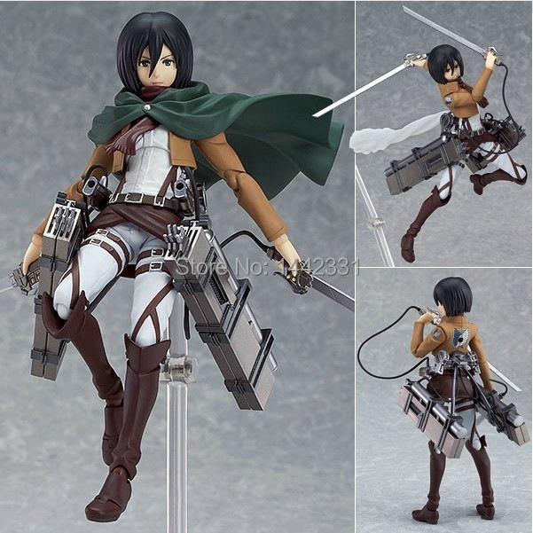 2015 16cm Anime Attack on Titan Figma 203 Mikasa Ackerman PVC Action Figure Collectible Model Toy Free shipping(China (Mainland))