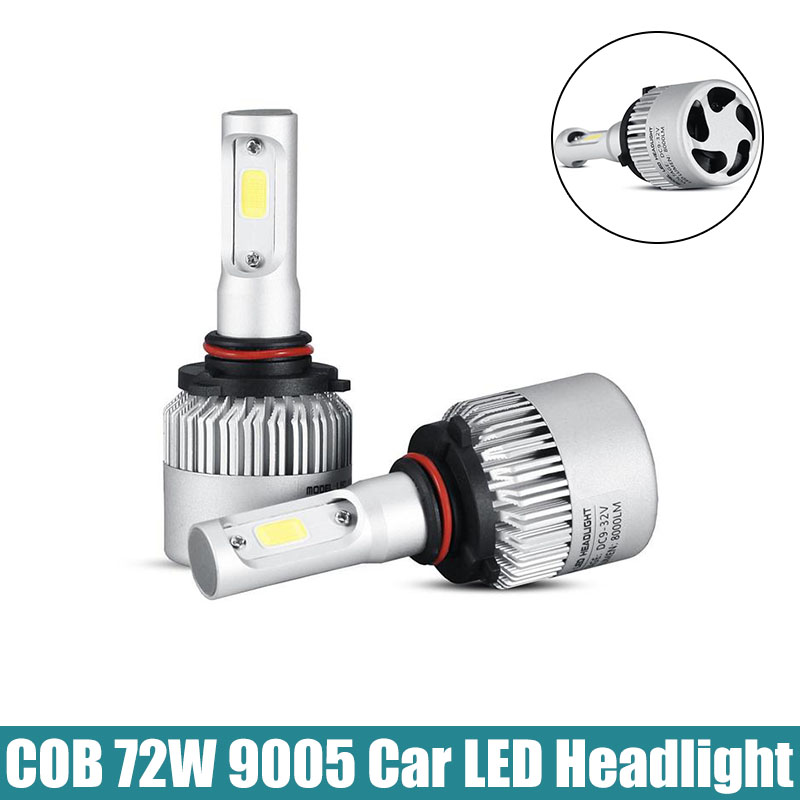2x Plug&Play COB 9005 LED Headlight 72W 8000LM All In One Car LED Headlights Bulb Head Lamp Fog Light 12V Auto Replacement Parts(China (Mainland))