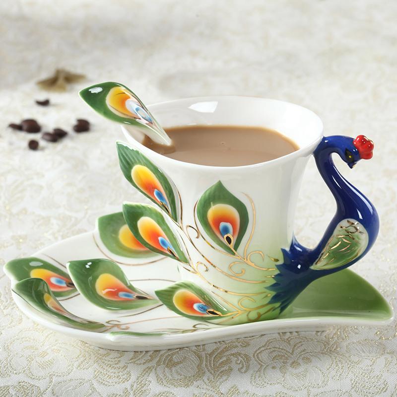Ceramic Peacock Coffee Mug Creative Tea Milk Cup Set Bone China 3D Color Enamel Porcelain Saucer Spoon Drinkware(China (Mainland))