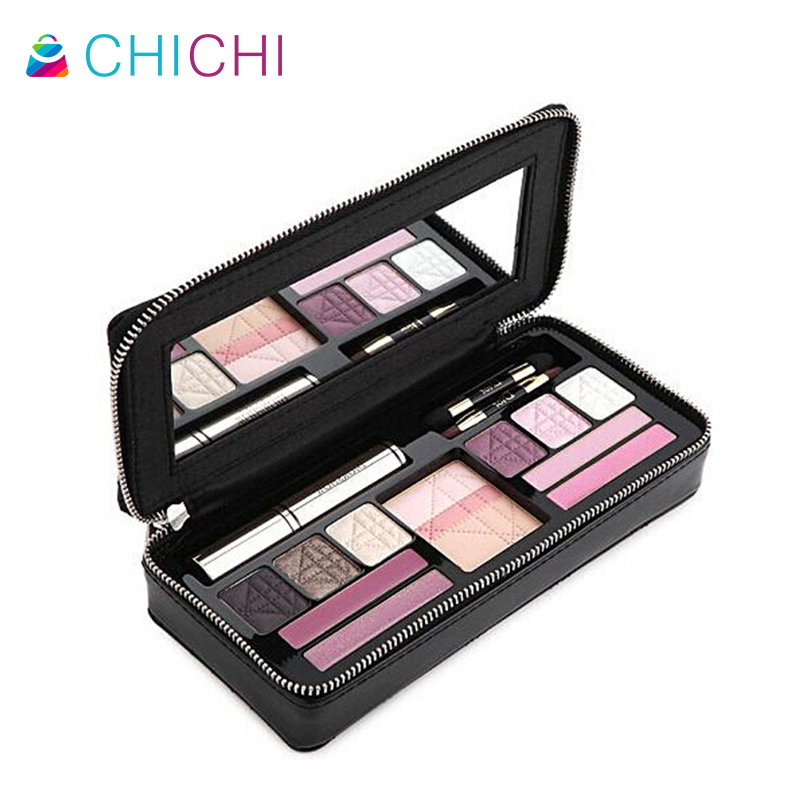 CHICHI Women Waterproof Leather Professional Cosmetic Case Bag MakeUp Black Plaid Mirror Brands Luxury Designer Ladies Clutch(China (Mainland))