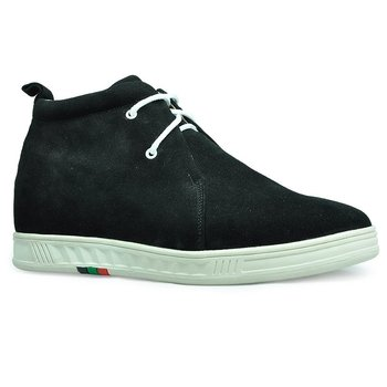 8006- Black Suede upper leather boots with hidden heels will increase height 7CM  for men.