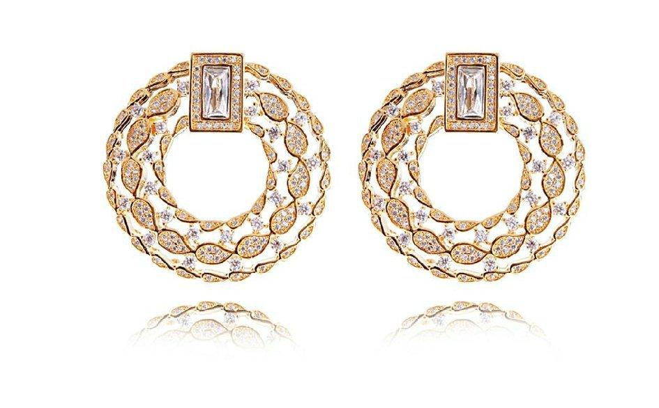Love Deluxe Earrings-wedding 2016 earrings stud 18k gold plated luxury earrings Cubic zirconia Womens jewellery Free shipping(China (Mainland))