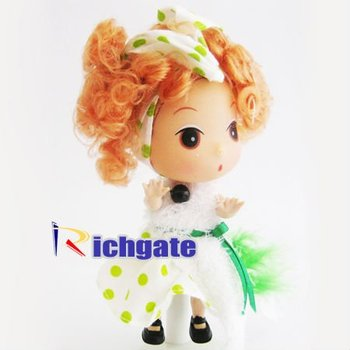 12cm Mini Beauty Fashion Girls Ddung DIY Dolls Pretty Dresses & Diamonds with Cell Phone Chain Mixed Styles