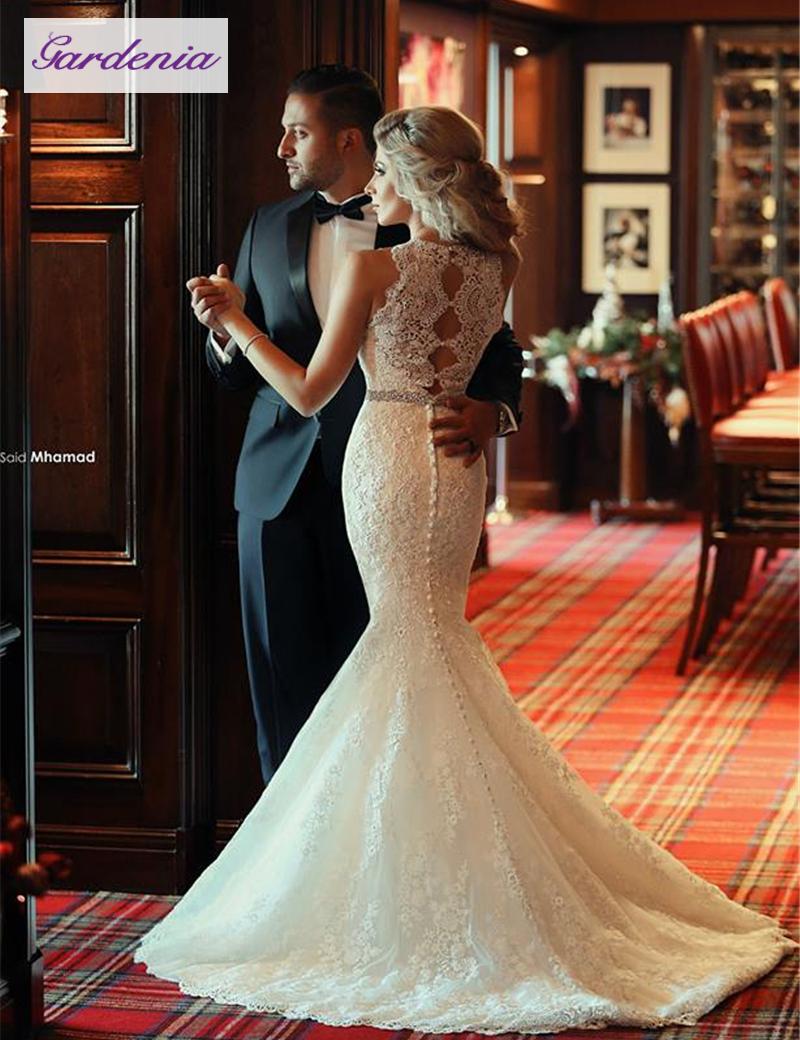 2016 unique vintage designer wedding dresses mermaid lace for Vintage designer wedding dresses