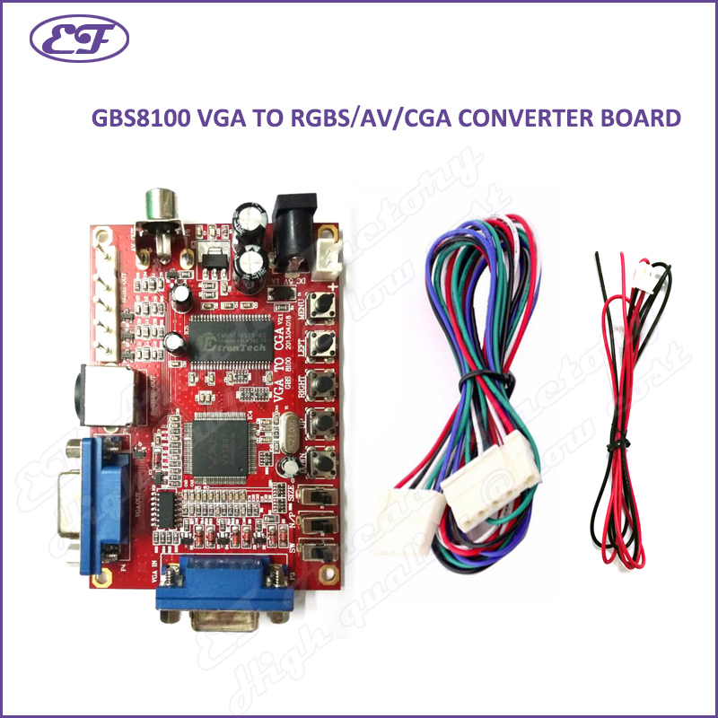 Free shipping 2017 VGA TO CGA 5 PINS RGBS/CVBS/S-VIDEO/AV video converter board CRT monitor converter board for game machine(China (Mainland))