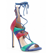 Brand same design women open toe ankle strap heel sandal lady 11cm thin heels Rainbow high-heeled summer shoes sexy shoes woman(China (Mainland))
