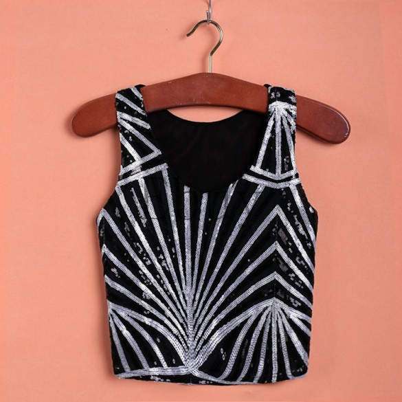 Fashion Sequins O-Neck Sleeveless Vest Party Casual Wear Tank Top Women Tanktop(China (Mainland))