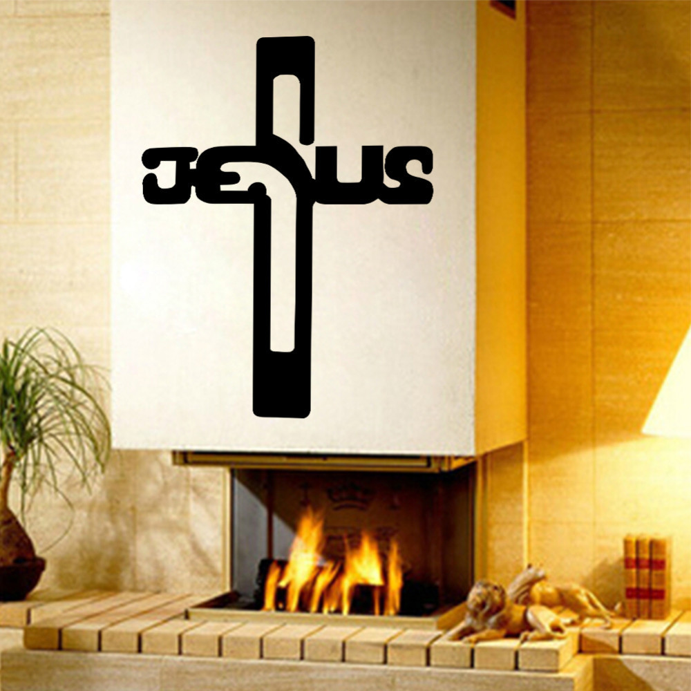Wall Decor Jesus : Christian jesus cross art home decor vinyl wall sticker