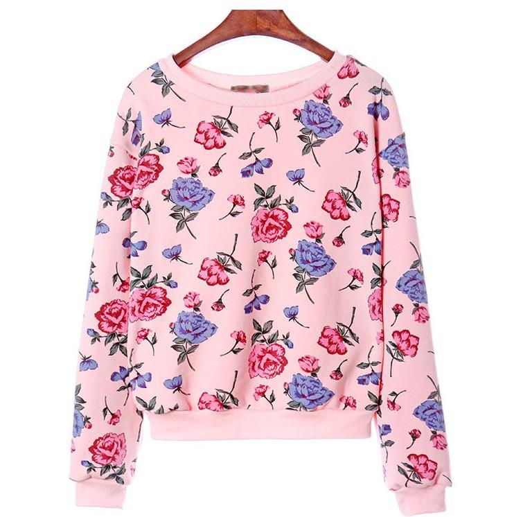 [Magic] 2014 new warm winter o neck hoodies thin lambs wool inside high quality whole clothing Rose sweatshirt 2 color WY0281(China (Mainland))