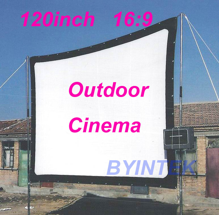 Matte White Soft fabric Home Theater 120inch 16:9 Projection HD Video Projector Simple Cinema Screen with holes Free Shipping(China (Mainland))