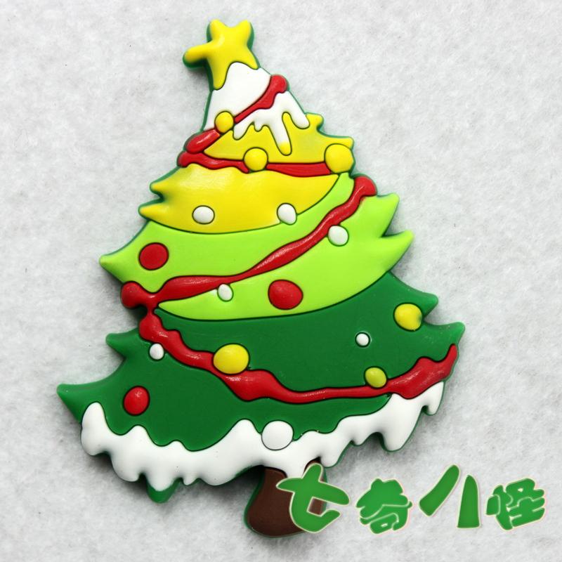 (10 pieces/lot) refrigerator stickers fridge magnets home decoration cartoon christmas tree(China (Mainland))