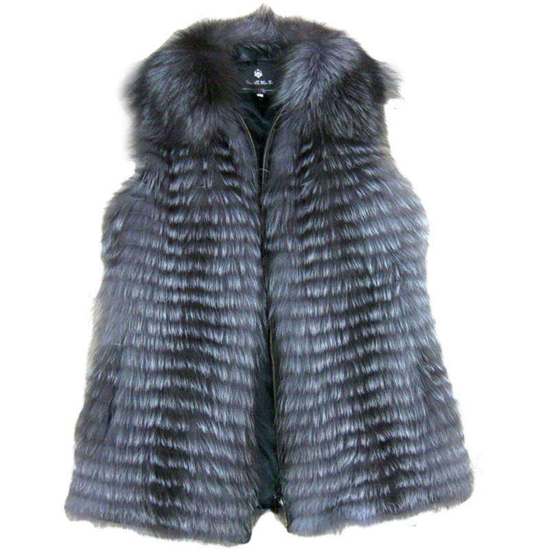 Genuine Silver Fox Fur Vest Gilets Women Fashion Real Natural Waistcoats Garment BF-V0127 - Top World Co.,Ltd store
