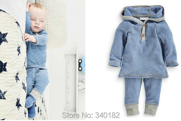 2015 newborn carters baby boy clothes bebe blue hooded striped long-sleeved + pants baby boy infant clothing set(China (Mainland))