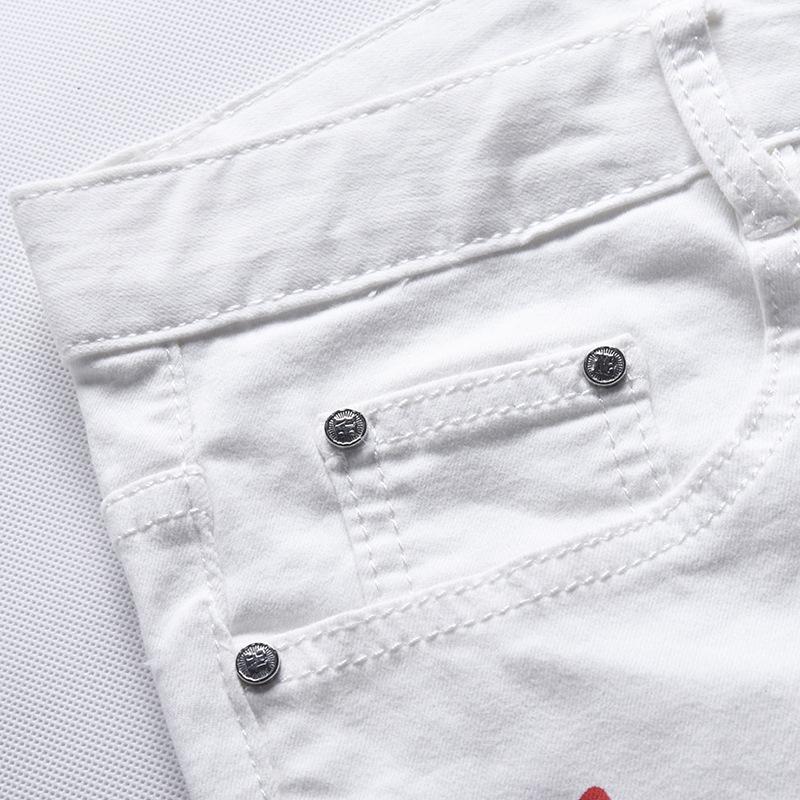 Скидки на Белый мода Печать дизайн Мужчины Досуг джинсы молния Поддельные дизайнер одежды pantalones вакеро hombre мужские джинсы G243