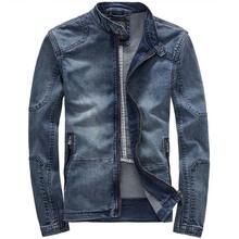 Autumn Winter Cowboy Coat Casual Slim Denim Jacket Men Retro Clothes Stand Collar Long Sleeve M-3XL(China (Mainland))
