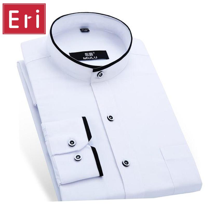 Mandarin Collar Men Shirt 2017 Fashion Brand Shirts Male Long-Sleeved Camisa Masculina Social Casual Slim Fit Chemise Homme X171