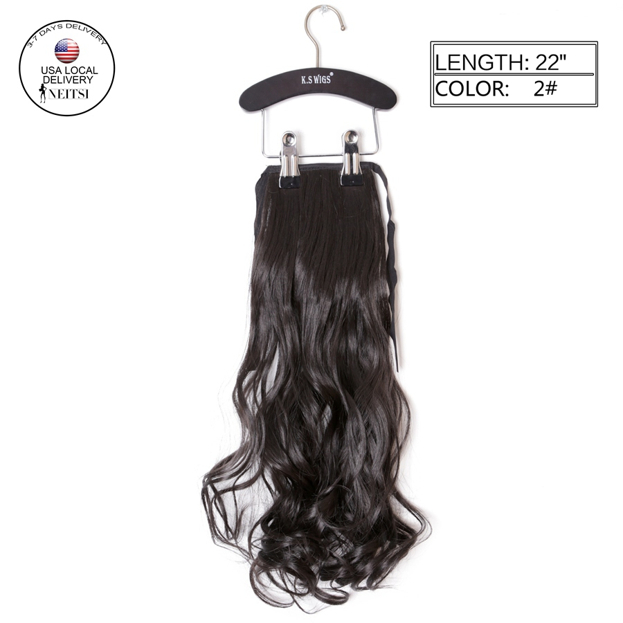Neitsi 1PC 22 Synthetic Curly Hair Ponytails Hairpieces Wavy Clip In On Pony Tail Hair Extensions 2# Natural Brown Hair Weft<br><br>Aliexpress