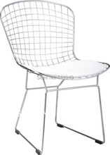 EMS shipping, 1 piece chromed steel leg with PU cushion Bertoia side wire chair(China (Mainland))