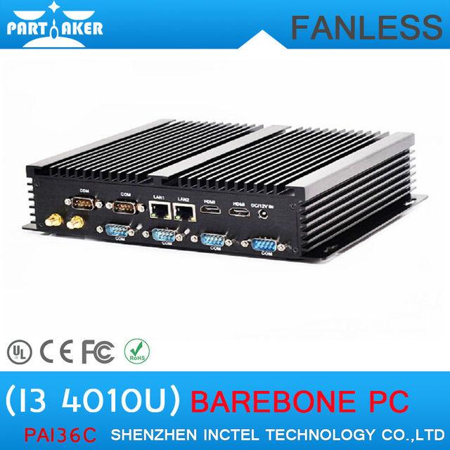 New Arrival Industrial PC Fanless design Mini Computer Mini PC Core i3 4010U with 6 RS232 Ports 2 HDMI Ports