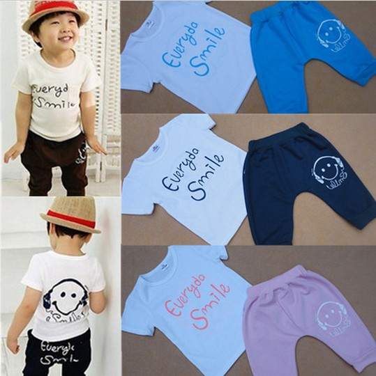 Discount!! Free shipping!!Retail one set baby boys smile face clothing sets summer sports cotton sets Navy/Coffee color BGDT-015(China (Mainland))