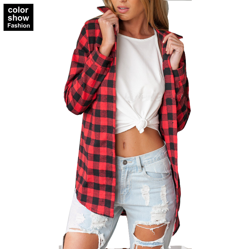 popular womens red plaid flannel shirtbuy cheap womens