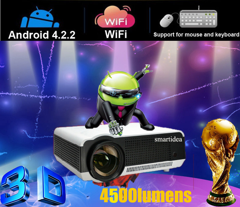Free shipping android4.2.2 wifi projector 3d, 220W high power LED lamp, 4500 lumens, 1280*800 resolution RJ45 HDMI USB VGA AV SD(China (Mainland))