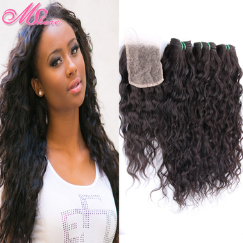 Rosa Hair Product Water Wave Brazilian Virgin Hair Bundle with 4x4 Free Style Brazilian Natural Wave Lace Closure Wet and Wavy