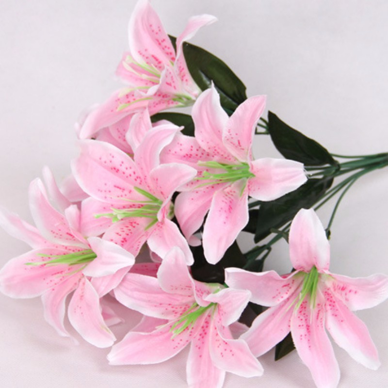 10 Heads Wedding Floral Home Decor Flower Real Touch Wedding Flower bouquet Lily Flower Artificial Lilies Bouquet
