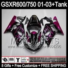 +Tank SUZUKI GSX R750 Pink CORONA GSXR750 01 02 03 K1 81#65 R600 GSXR 600 750 2001 2002 2003 Rose GSXR600 Fairing - Motomarts store