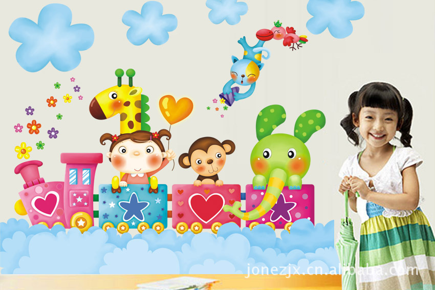 AY1004 mural wall paper Train Happy Travel sticker on the wall Vinyl wall stickers for kids rooms wall decals(China (Mainland))