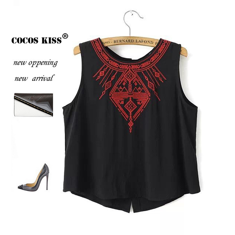 2015 New Fashion Ladies' elegant Embroidery short crop blouses back button vintage O neck sleeveless shirt casual slim brand top(China (Mainland))