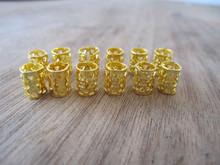100 MINI (5mm Hole) Golden Thicken Dreadlock Beads Adjustable Hair Braid Cuff Clip(China (Mainland))