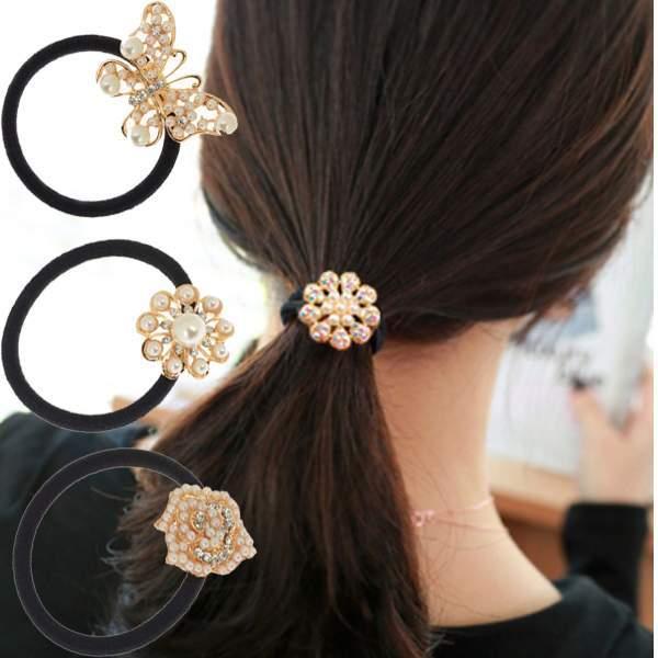 Fashion Women Girls Crystal Rhinestone Pearl Butterfly Flower Hair Band ties Rope Elastic Ponytail Holder(China (Mainland))
