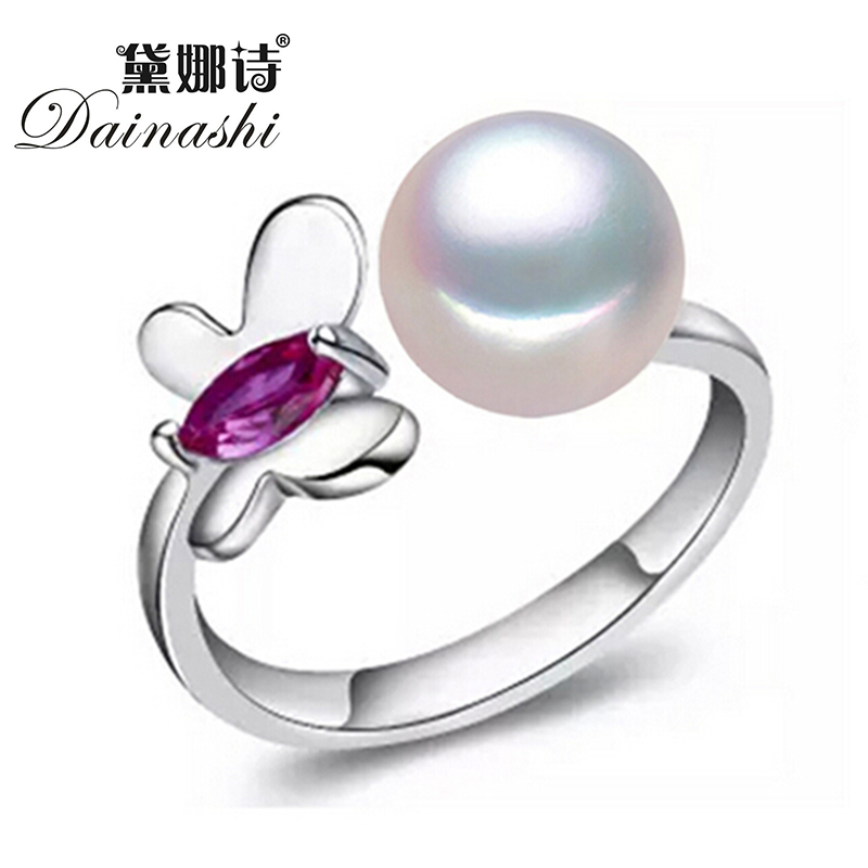 2016 Amazing Price Butterfly Pearl Ring 100% Real Natural Freshwater Pearl Ring With 925 Sterling Silver Rings For Women Gift(China (Mainland))