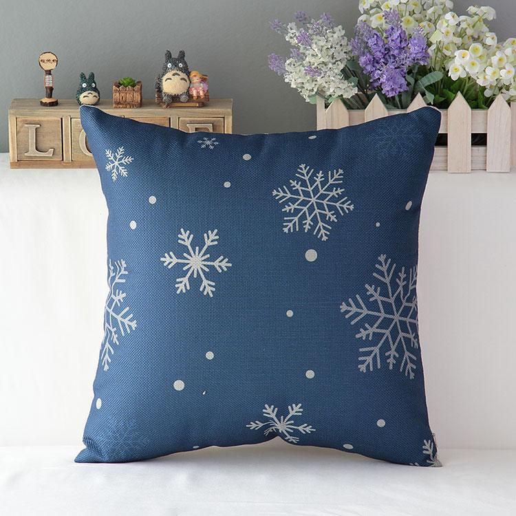 Navy blue throw pillow covers decorative cushion covers Christmas snowflake cotton linen retro ...