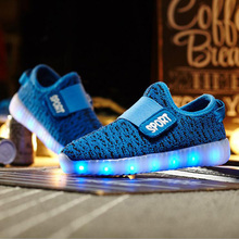 7 colors quality autumn yeezy LED luminous boys gilrs sneakers children lights USB charge kids glowing casual shoes size25-35(China (Mainland))