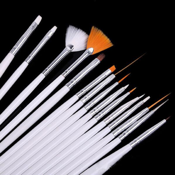 Ногтей кисти комплект 15 шт. белые украшения гель живопись щетка для ногтей профессиональный оборудование инструмент для рисования